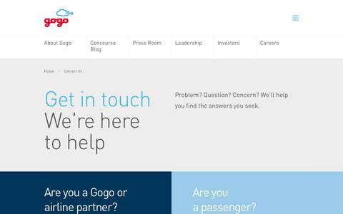 Screenshot of Contact Page gogoair.com - Contact Us - Gogo - captured Sept. 22, 2018