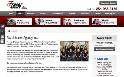 Screenshot of About Page fraseragency.com - About Fraser Agency, Inc. in Fort Worth and Stephenville Texas - Fraser Agency, Inc. - captured Nov. 9, 2018