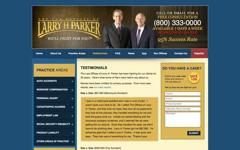 Screenshot of Testimonials Page larryhparker.com - Larry H. Parker Client Testimonials | Los Angeles and Long Beach Attorneys - captured Aug. 23, 2016