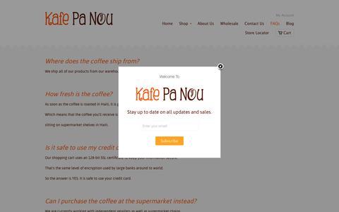 Screenshot of FAQ Page kafepanou.com - FAQs | Kafe Pa Nou - captured June 9, 2017
