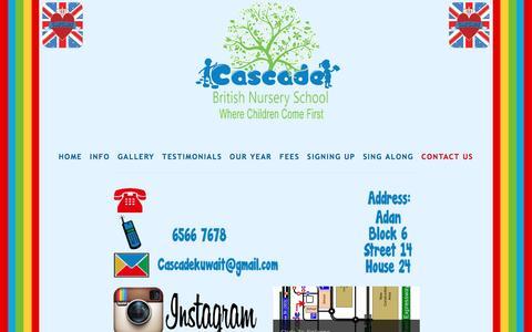 Screenshot of Contact Page cascade-kuwait.com - Contact Us — Cascade British Nursery Kuwait - captured April 9, 2017