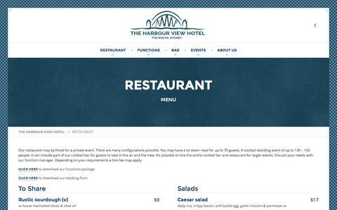 Screenshot of Menu Page harbourview.com.au - RESTAURANT - THE HARBOUR VIEW HOTEL - captured Oct. 26, 2016