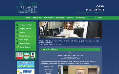 Screenshot of Maps & Directions Page Hours Page dogwoodacres.com - Hours and Holidays   Baltimore   Washington D.C.   Annapolis   Dogwood Acres Pet Retreat - captured Oct. 23, 2014
