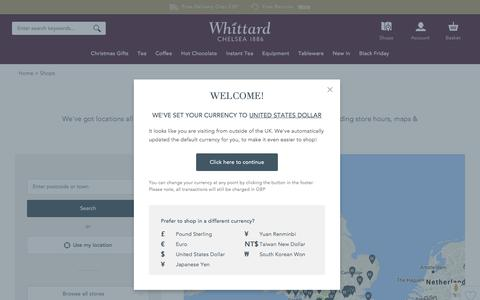 Screenshot of Locations Page whittard.co.uk - Shops | Whittard of Chelsea - captured Nov. 28, 2016