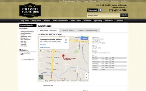 Screenshot of Contact Page Locations Page strassnerfurniture.com - Contact Strassner Furniture in Missouri - captured June 21, 2016
