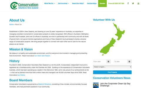 Screenshot of About Page conservationvolunteers.co.nz - About Us - Conservation Volunteers New Zealand - captured Nov. 11, 2018
