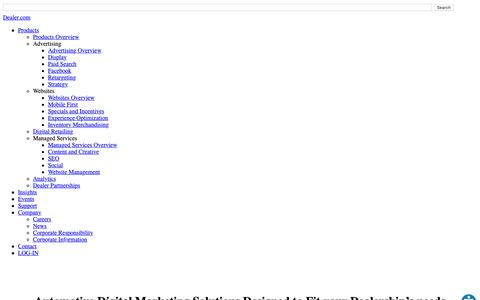 Screenshot of Products Page dealer.com - Automotive Digital Marketing Solutions | Dealer.com - captured March 12, 2019