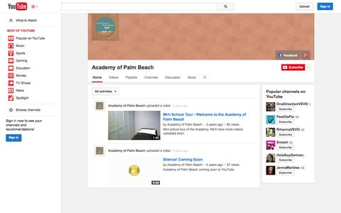 Screenshot of YouTube Page youtube.com - Academy of Palm Beach  - YouTube - captured Oct. 23, 2014