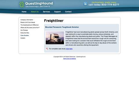 Screenshot of Case Studies Page questinghound.com - Freightliner: Case Studies: QuestingHound Technology Partners - captured Oct. 3, 2014