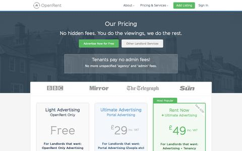 Screenshot of Pricing Page openrent.co.uk - Pricing - The Online Letting Agent with No Hidden Fees | OpenRent - captured Nov. 2, 2019