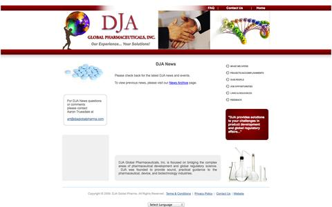 Screenshot of Press Page djaglobalpharma.com - Global Consultants, DJA Global Pharmaceuticals, Inc Offers       Global Regulatory Strategy Development, Agency Meetings, FDA &       EU Agency Inspection Preparation - captured Oct. 5, 2014