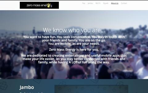 Screenshot of Home Page zeromassenergy.com - Zero Mass Energy - captured Jan. 12, 2016