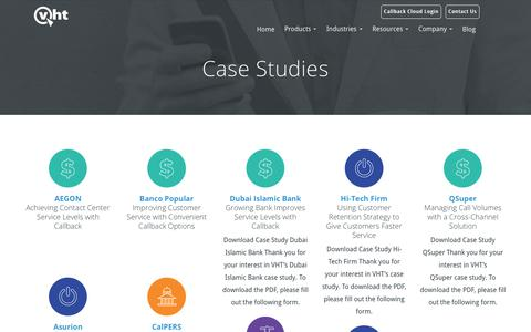 Screenshot of Case Studies Page vhtcx.com - VHT | Contact Center Case Studies - captured July 15, 2018