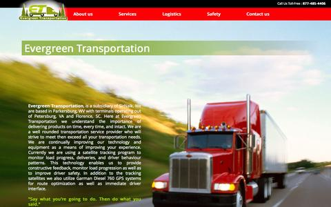 Screenshot of Home Page evergreentransportationllc.com - Evergreen Transportation - Trucking, Logistics, Overland, Intermodal, Optimodal Trucking, Sea-Land Containers - captured Jan. 27, 2015