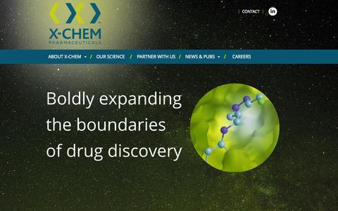 Screenshot of Home Page x-chemrx.com - homepage - X-CHEM - captured Sept. 16, 2015