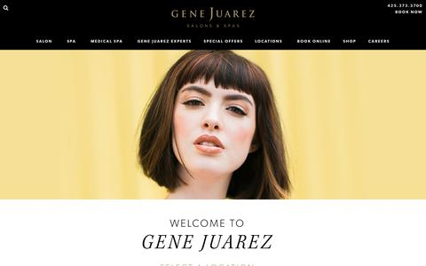 Screenshot of Locations Page genejuarez.com - Locations - Gene Juarez   Salons & Spas: : Best Hair Salon Seattle, Bellevue, Redmond & Tacoma - captured Sept. 23, 2018