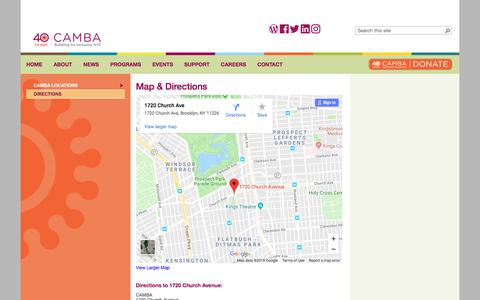 Screenshot of Maps & Directions Page camba.org - CAMBA                                       Map & Directions - captured July 15, 2018
