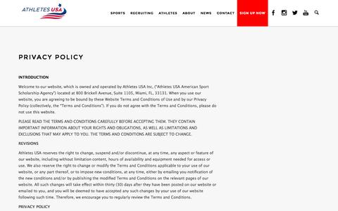 Screenshot of Privacy Page athletes-usa.com - Privacy Policy | Athletes USA American Sport Scholarship Agency - captured Dec. 27, 2015