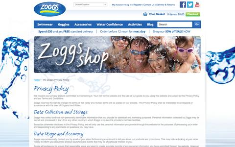 Screenshot of Privacy Page zoggs.com - The Zoggs Privacy Policy - captured Oct. 26, 2014