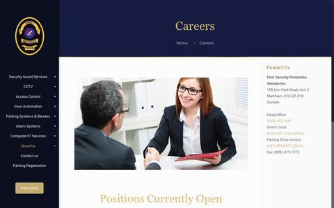 Screenshot of Jobs Page firstsecurity.ca - Careers – First Security Protection Services - captured Oct. 13, 2017