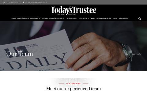Screenshot of Team Page totrust.co.za - Our Team - Today's Trustee - captured May 29, 2019