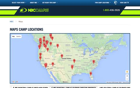 Screenshot of Maps & Directions Page nbccamps.com - Maps Camp Locations - NBC Camps - captured Feb. 27, 2016