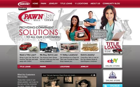 Screenshot of Home Page pawn1st.net - Pawn1st Pawn & Title Loans: Pawn Shops, Title Loans, Jewelry Buyers - captured Oct. 2, 2014