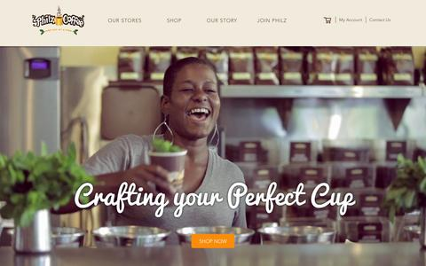 Screenshot of Home Page philzcoffee.com - Philz Coffee - captured Feb. 18, 2016