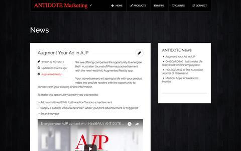 Screenshot of Press Page antidotemarketing.com - News « ANTIDOTE Marketing - captured July 28, 2018