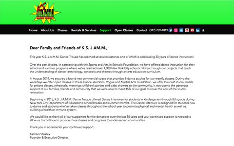 Screenshot of Support Page ksjammdancetroupe.com - Home | K.S. J.A.M.M. Dance Troupe | Support - captured Sept. 20, 2018