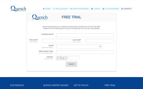 Screenshot of Trial Page quenchwater.com - Quench Water Canada |   FREE TRIAL - captured Nov. 2, 2014