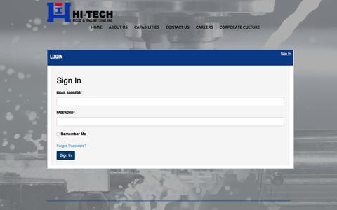 Screenshot of Login Page hitechmold.com - Hi-Tech Mold & Engineering, Inc | Plastic Injection Molding Michigan | LOGIN - captured Sept. 28, 2018