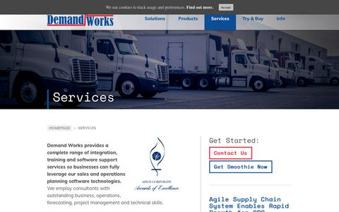 Screenshot of Services Page demandworks.com - Services - Demand Works Company - captured May 17, 2018