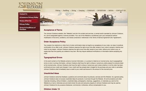 Screenshot of Terms Page johnsonoutdoors.com - Johnson Outdoors | - captured Sept. 23, 2014