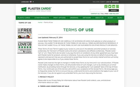 Terms of Use  |  Plastek Cards | Promotional Plastic Card Printing & Manufacturing