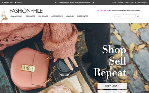 Screenshot of Home Page fashionphile.com - Fashionphile - Buy, Sell & Consign Authentic Used Designer Luxury Items - captured Nov. 25, 2018