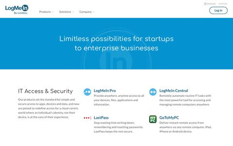 Screenshot of Products Page logmein.com - View All LogMeIn Products - captured Sept. 26, 2019