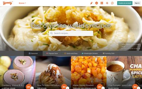 Screenshot of Home Page yummly.com - The Best Site For Recipes, Recommendations, Food And Cooking | Yummly - captured Dec. 3, 2015