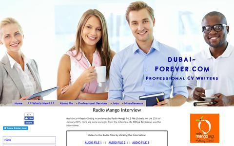 Screenshot of Press Page dubai-forever.com - Radio Mango Interview - captured Oct. 9, 2018