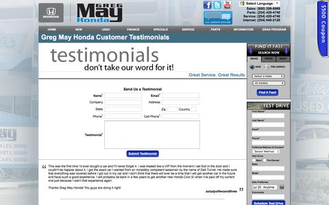 Screenshot of Testimonials Page gregmayhonda.com - Greg May Honda Customer Testimonials - captured July 19, 2016