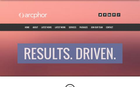 Screenshot of About Page Services Page arcphor.com - Arcphor | Results. Driven. - captured Nov. 2, 2014