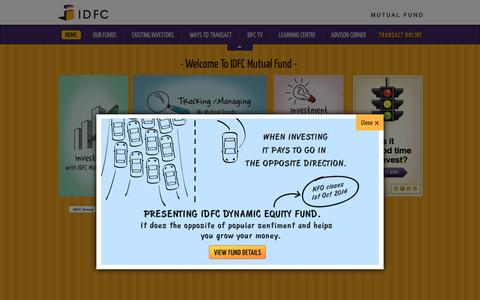Screenshot of Home Page idfcmf.com - IDFC Mutual Fund - Mutual Funds Investment Company in India - captured Sept. 24, 2014