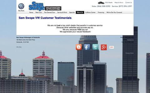 Screenshot of Testimonials Page samswopevolkswagen.com - VW Dealer in Indiana Feedback | Volkswagen Testimonial in Indiana - captured Oct. 2, 2014
