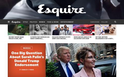 Screenshot of Home Page esquire.com - Esquire - Men's Fashion, Cocktails, Politics, Interviews, and Women - captured Jan. 20, 2016