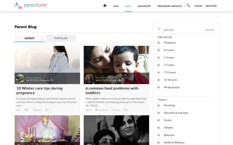 Screenshot of Blog parentune.com - Parentune - Parent Blog - captured Jan. 24, 2016