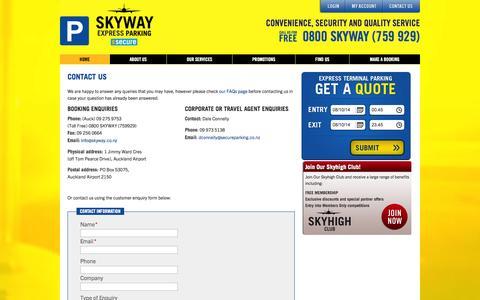 Screenshot of Contact Page skyway.co.nz - Contact Us   Skyway Airport Parking - captured Oct. 7, 2014
