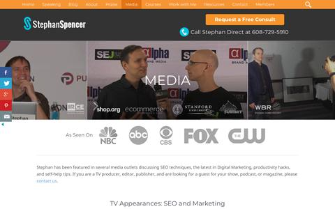 Screenshot of Press Page stephanspencer.com - SEO Interviews of Author and SEO Expert   Stephan Spencer - captured Nov. 17, 2018
