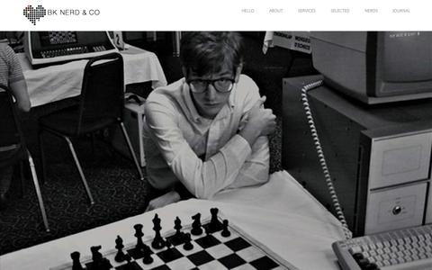 Screenshot of Home Page bknerdand.co - BK NERD & CO is a creative branding and communications agency, based out of Brooklyn, NY. - captured Sept. 10, 2015