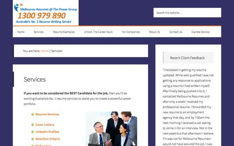 Screenshot of Services Page melbourneresumes.com.au - Resume Services  Professional Resume Writing Services - captured Oct. 27, 2014