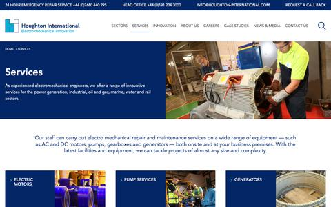 Screenshot of Services Page houghton-international.com - Our Services: Electro Mechanical Repair   Houghton International - captured Dec. 16, 2018